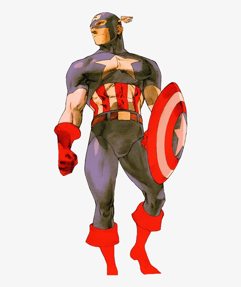 Captain America Clipart Muscular - Marvel Vs Capcom 2 Captain America, transparent png #831501