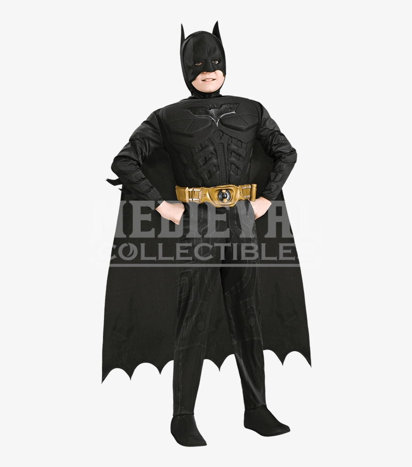 Boys Dark Knight Rises Deluxe Batman Costume - Batman Dark Knight Deluxe Muscle Chest Child Costume, transparent png #838310