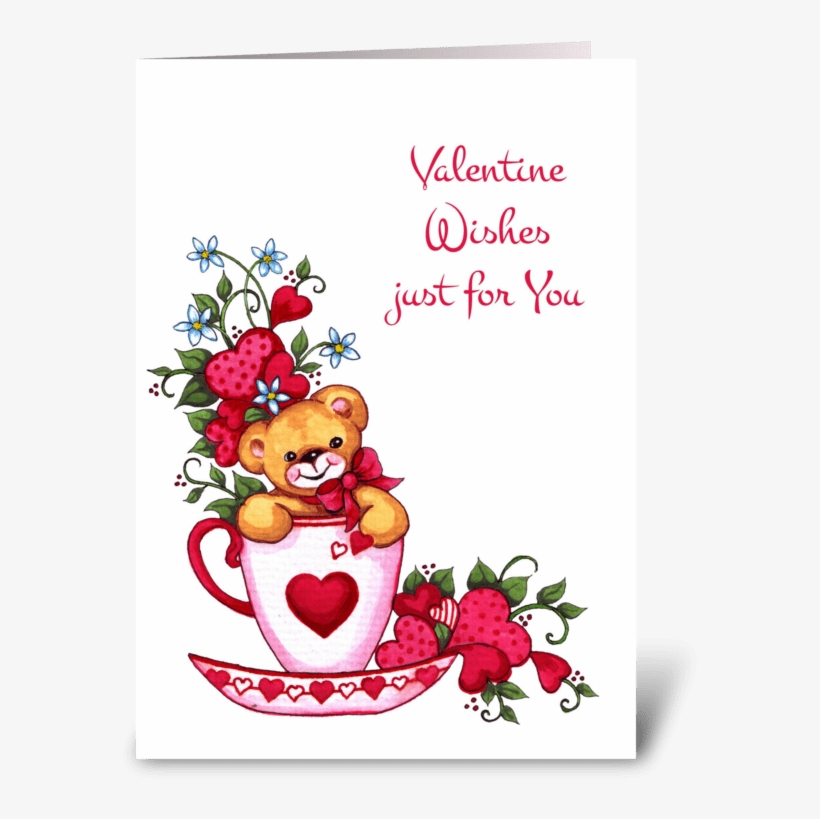 Teddy Bear, Tea Cup Valentine's Day Card Greeting Card - Happy Valentines Day My Friend, transparent png #8311988