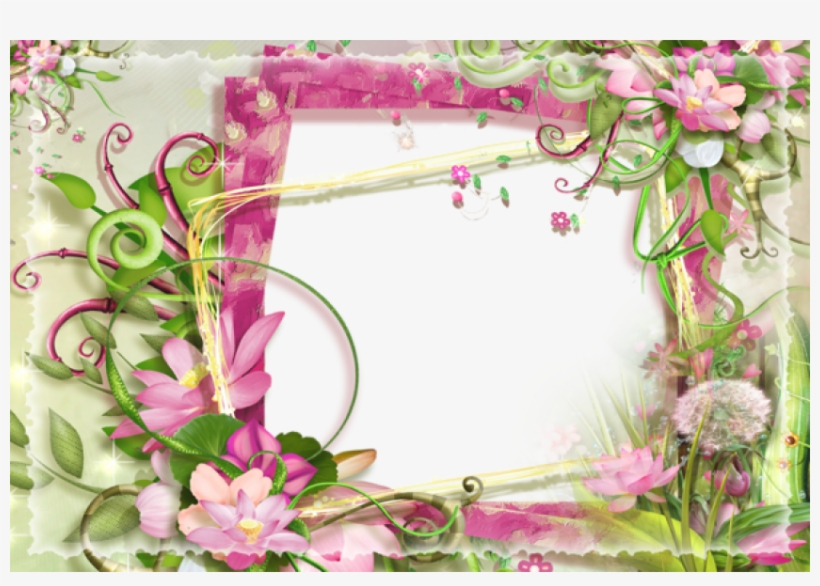 Free Png Best Stock Photos Pink And Green Flowers Png - Pink And Green Photo Frame, transparent png #8312359