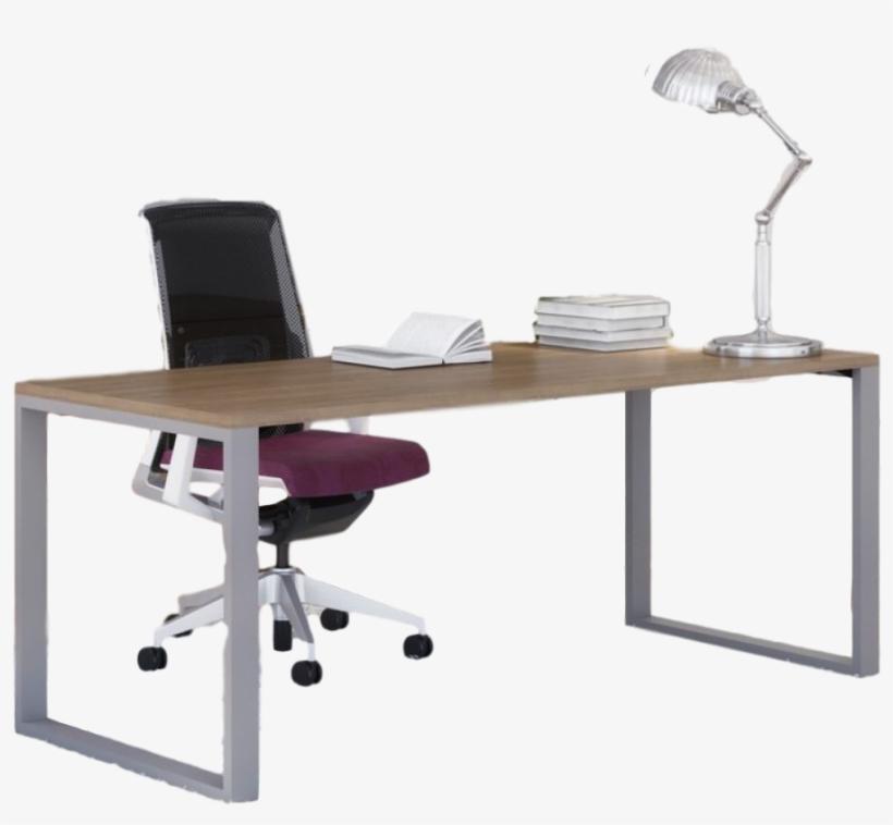 Belair Lite Office Desk With Metal Legs - Office Desk Transparent, transparent png #8339828
