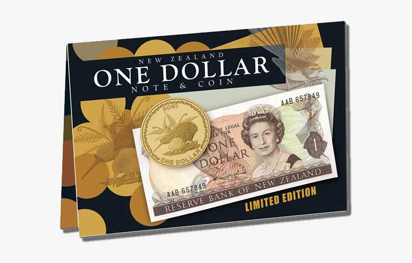 New Zealand One Dollar Note & Coin Set - New Zealand 1 Dollar, transparent png #8363392