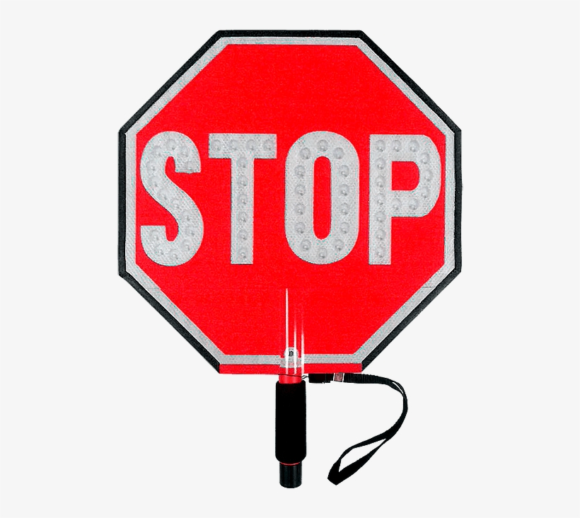 Paddle Stop Slow Flashing Led Hand Held Sign 18 Inch - Led Hand Held Stop Signs, transparent png #8372067