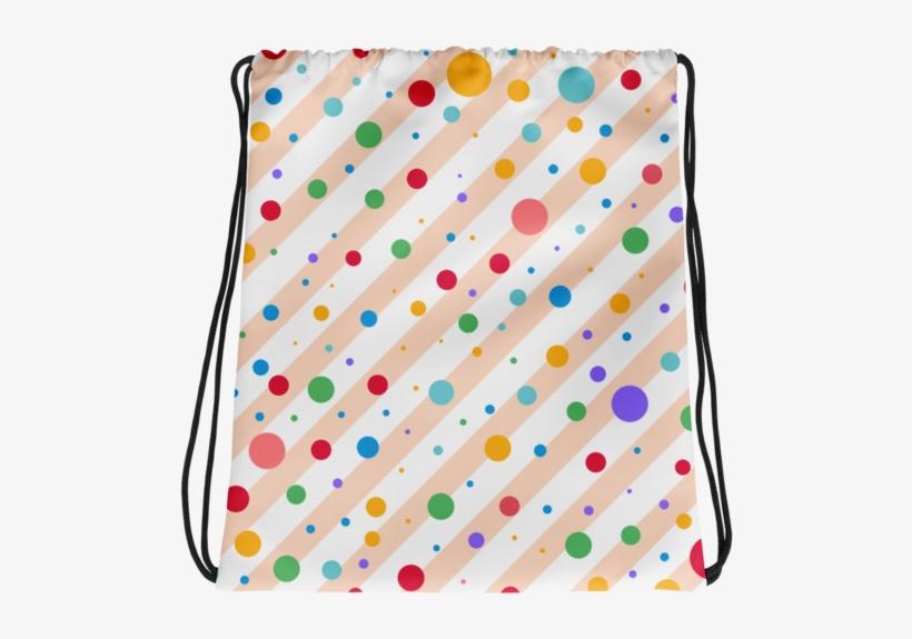 Multi Colored Polka Dots And Stripe Pattern Drawstring - Polka Dot, transparent png #8375196
