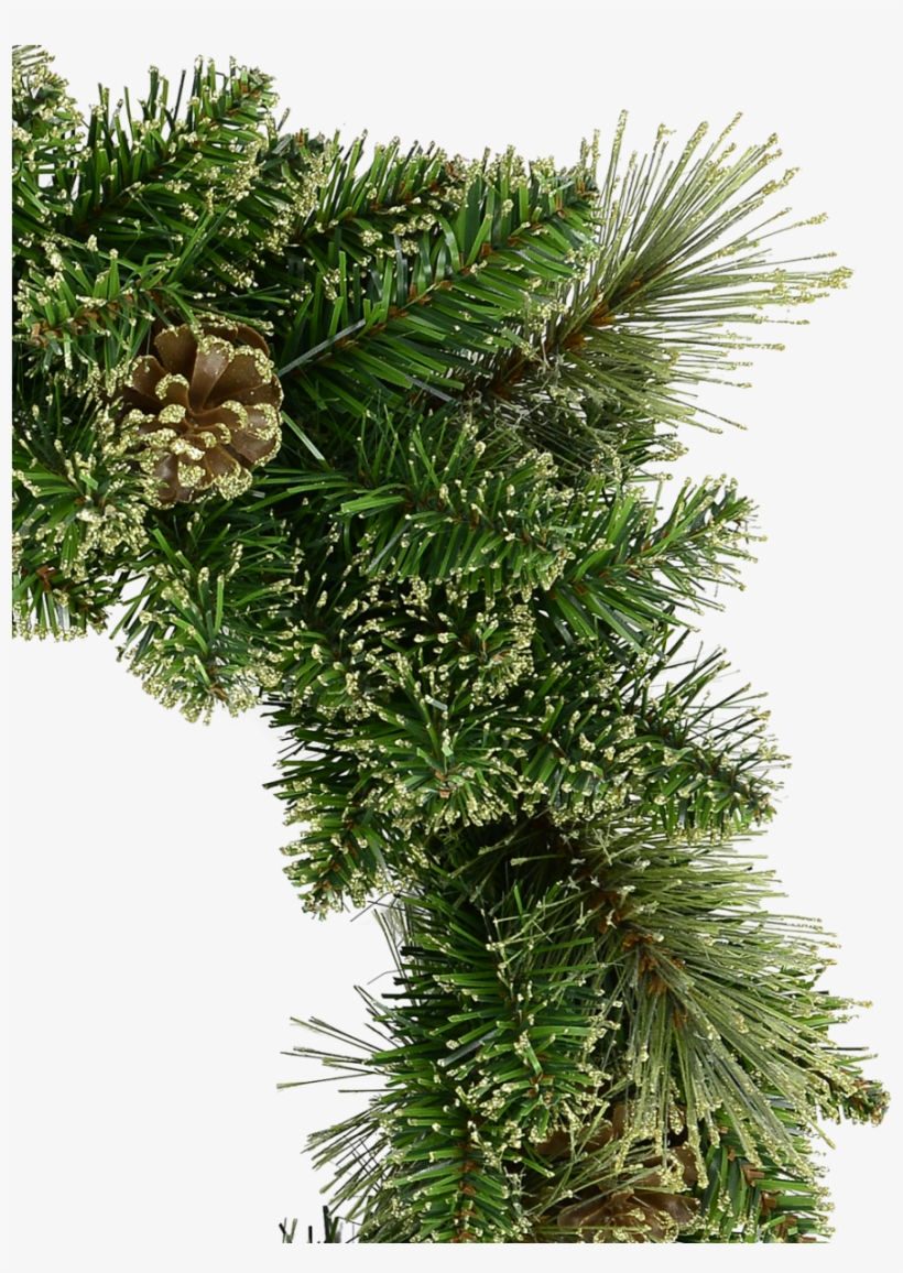 Natural Look Pine Wreath With Pine Cones & Lightly - Christmas Tree, transparent png #8377637