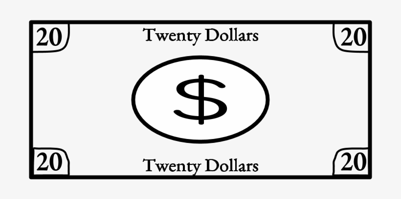 Twenty Dollar Bill, 20, Black And White, Png - Circle, transparent png #8379819