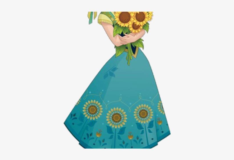 Frozen Clipart Frozen Fever - Anna Frozen Sunflower Dress, transparent png #8393250