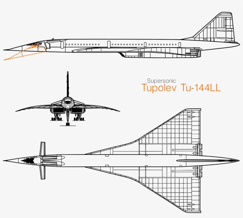 Supersonic Jet Concorde Jet Plane - Tupolev Tu 144 Blueprint, transparent png #8394125
