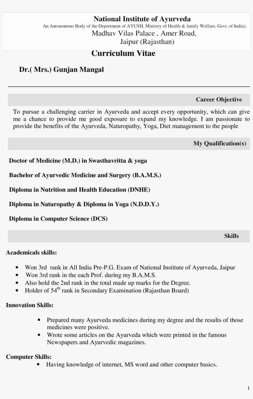 Free Bams Fresher Templates At Allbusinesstemplates - Ayurveda Doctor Bams Doctor Resume, transparent png #8398224