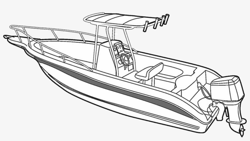 Drawn Yacht Speed Boat - Speed Boat Line Drawing, transparent png #840590