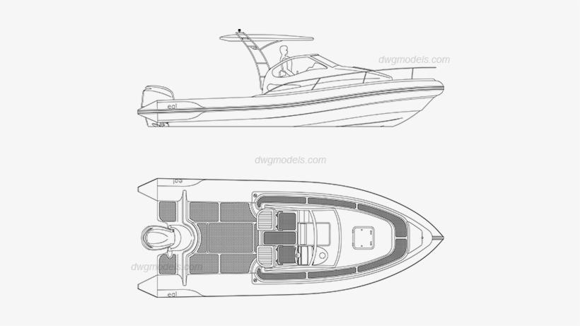 Motor Boat Dwg, Cad Blocks, Free Download - Boat, transparent png #840928