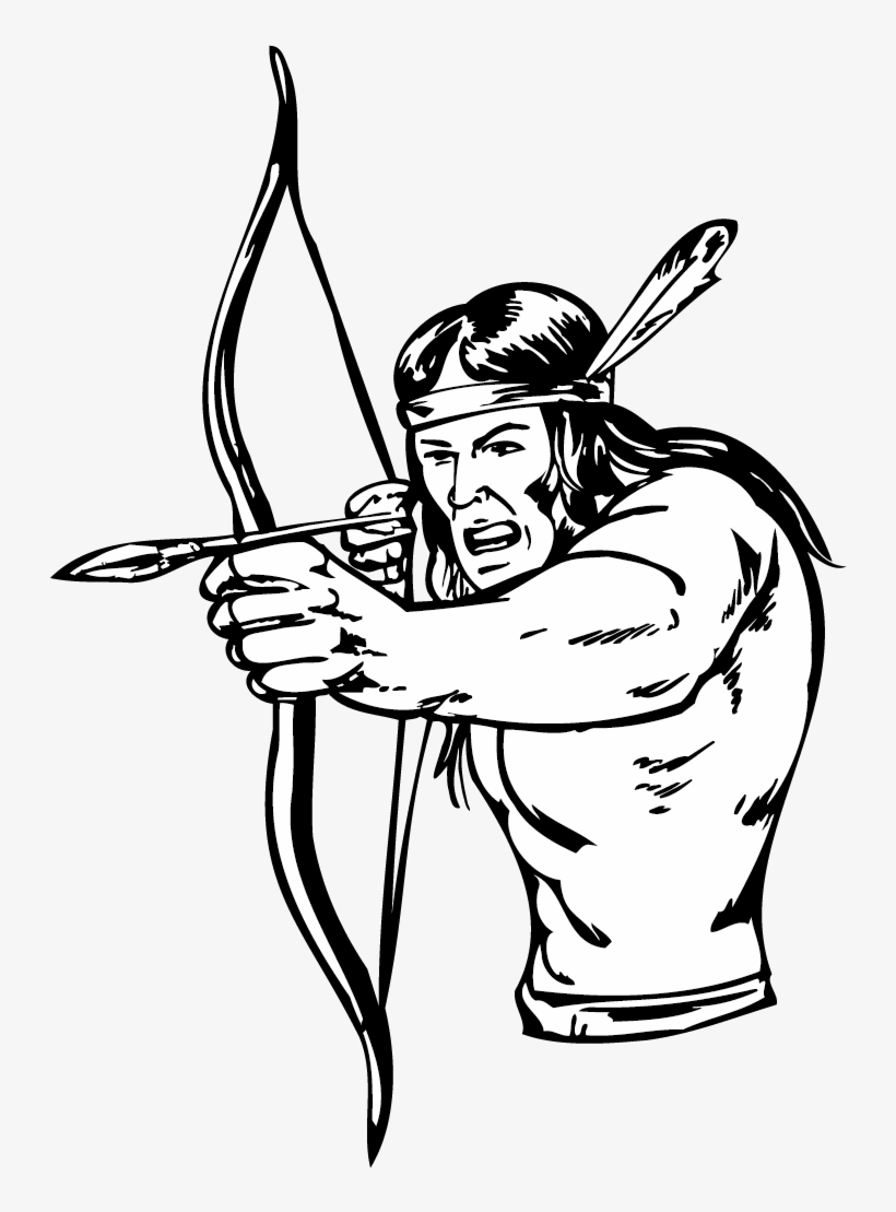 Clipart Transparent Download Bow And Arrow Indigenous - Native American Bow And Arrow Drawing, transparent png #841034