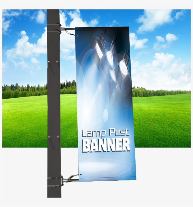 Banner Supplied With Lamp-post Brackets - Lamp Post With Banner, transparent png #844474