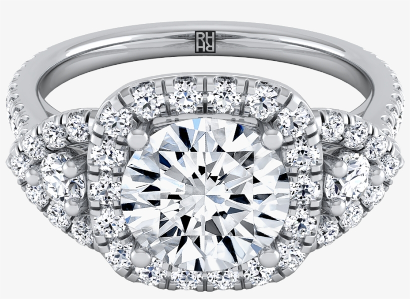 3 Stone Engagement Ring With Diamond Pave Shank In - Engagement Ring, transparent png #8405228