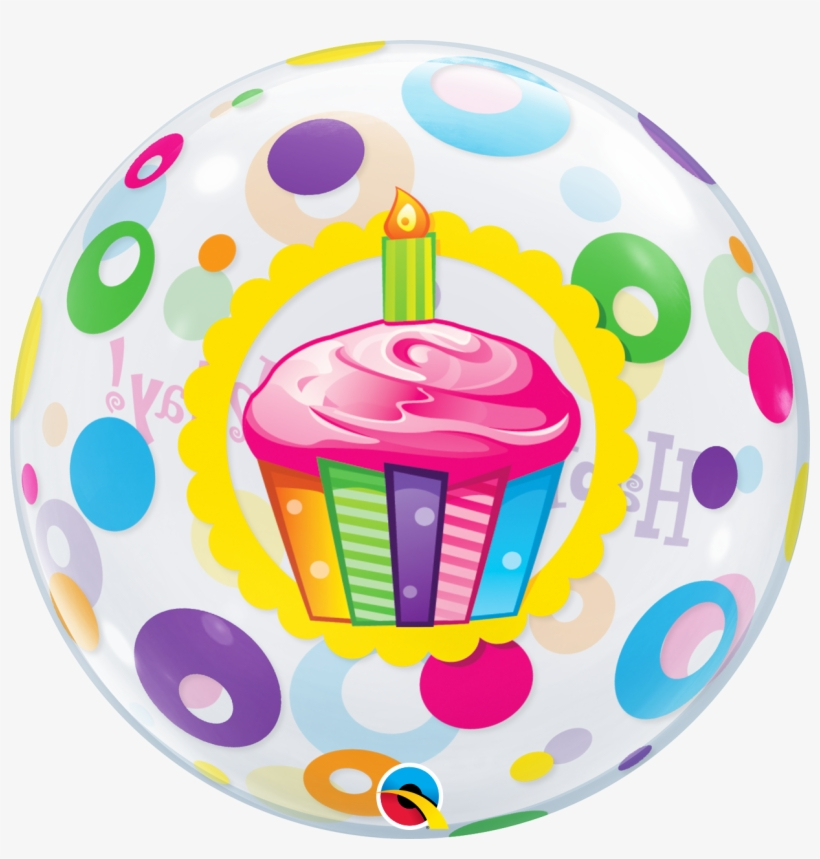 Happy Birthday Cupcake Dots Bubble Balloon 14184 1 - Bubble Cup Cake Balloon, transparent png #8422938