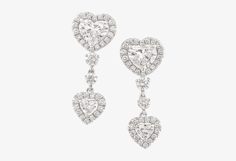 Heart Shaped Diamond Earrings - Diamond Earring In Heart Shaped, transparent png #8437138