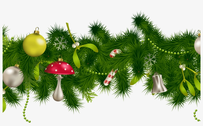 19 Christmas Holly Garland Clip Library Stock Huge - Green Christmas Decorations Png, transparent png #8438009