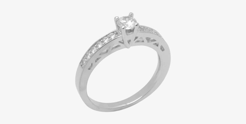 14k White Gold Diamond Ring D2056 - Engagement Ring, transparent png #8440064
