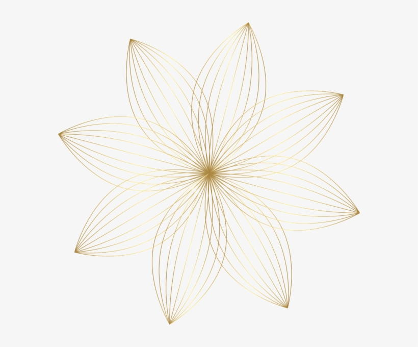 Gold Flower Decoration Transparent Clip Art Image - Line Art, transparent png #8442535