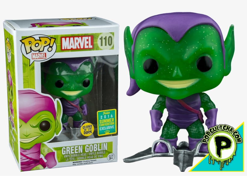 Green Goblin With Glider Translucent Glitter Glow In - Funko Pop Green Goblin 110 Sdcc 2016, transparent png #8450566