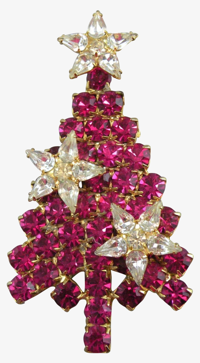 Christmas Tree Brooch With Red Rhinestones And Crystal - Christmas Ornament, transparent png #8457123