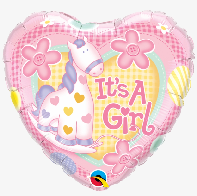 18'' It's A Girl Pony Balloon Helium - Pink Baby Shower Balloon, transparent png #8458796