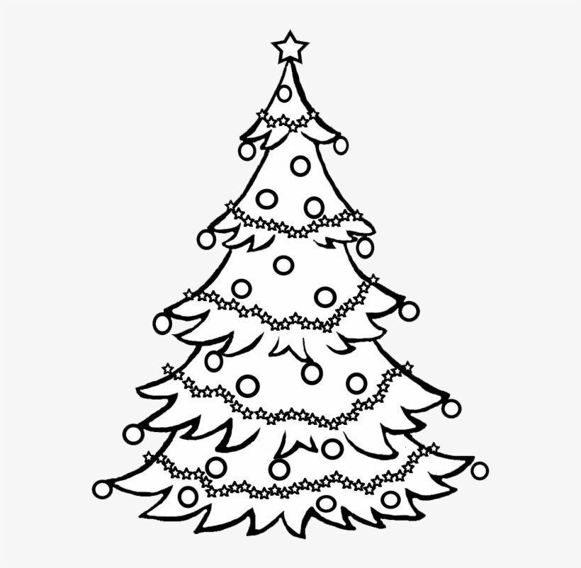 Pine Tree Clipart Black And White / Christmas Tree - Black And White Christmas Tree Drawing, transparent png #8464496
