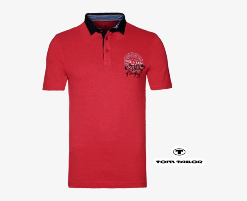 ~tom Tailor Red Polo Tshirt With Logo Print & Black - Collar T Shirt Logo, transparent png #8467169