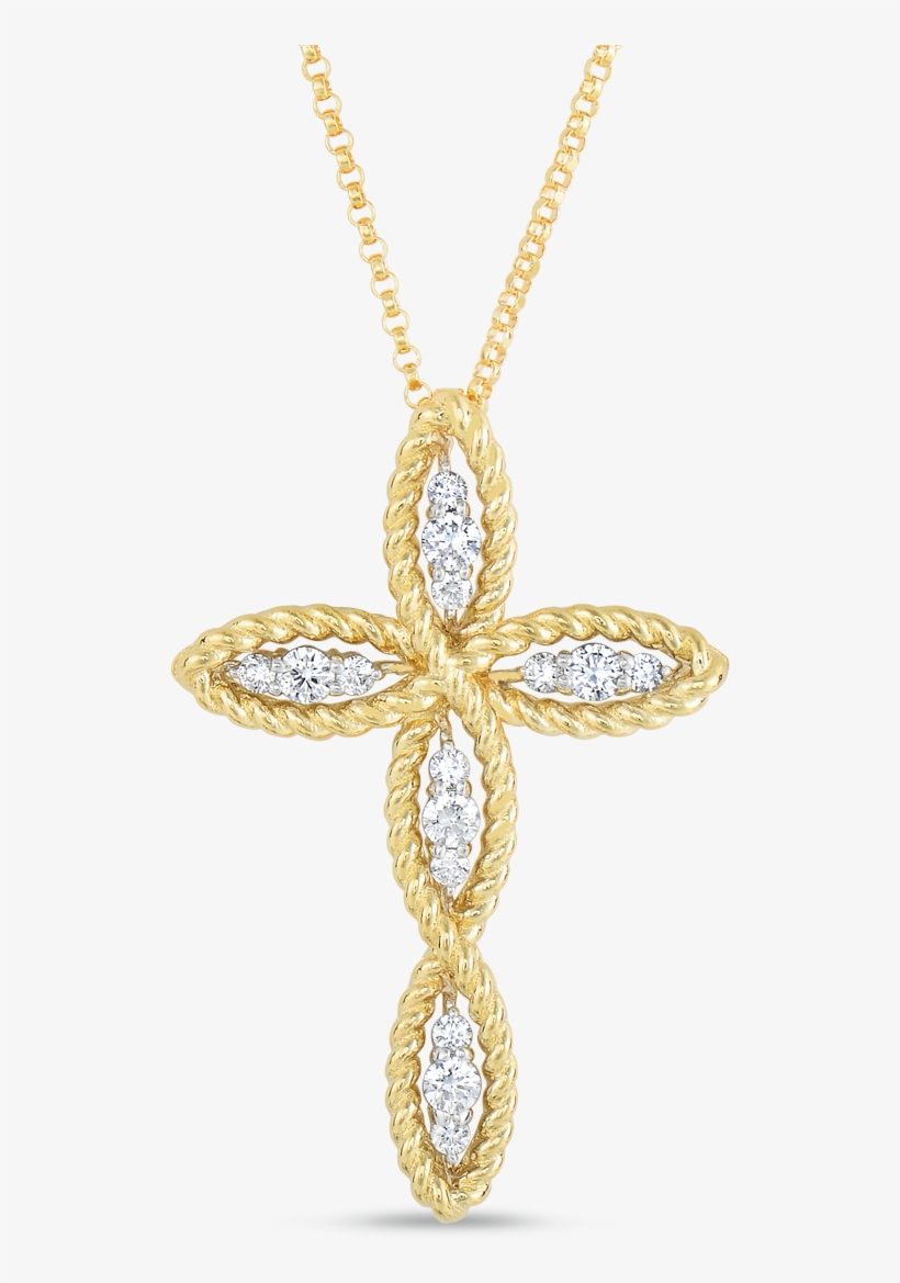 Roberto Coin Barocco 18k Yellow Gold And 18k - Cross Pendant With Diamonds, transparent png #853091