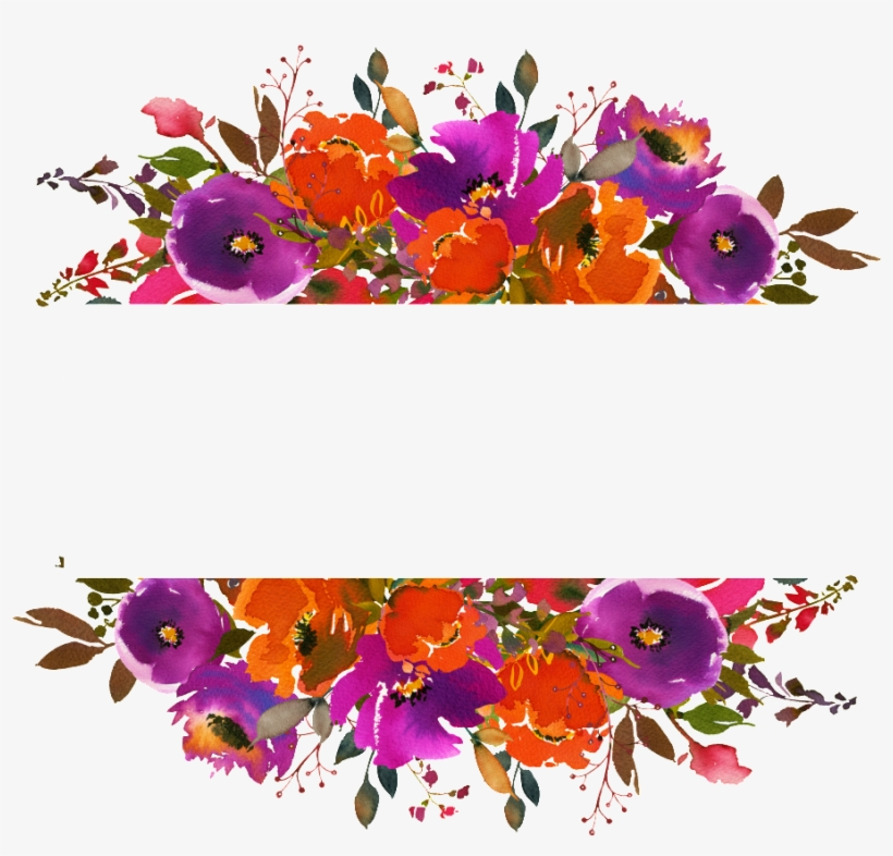 Hand Painted Orange Red Watercolor Flower Png Transparent - Watercolor Flowers Frame Orange, transparent png #857555