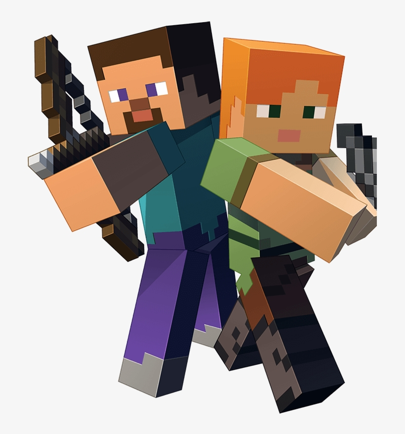 Minecraft Characters Steve And Alex Free Transparent Png Download Pngkey