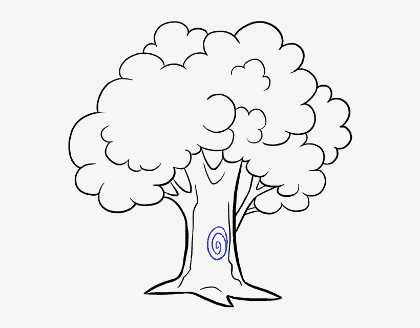 How To Draw Cartoon Tree - Draw A Cartoon Tree, transparent png #8528176