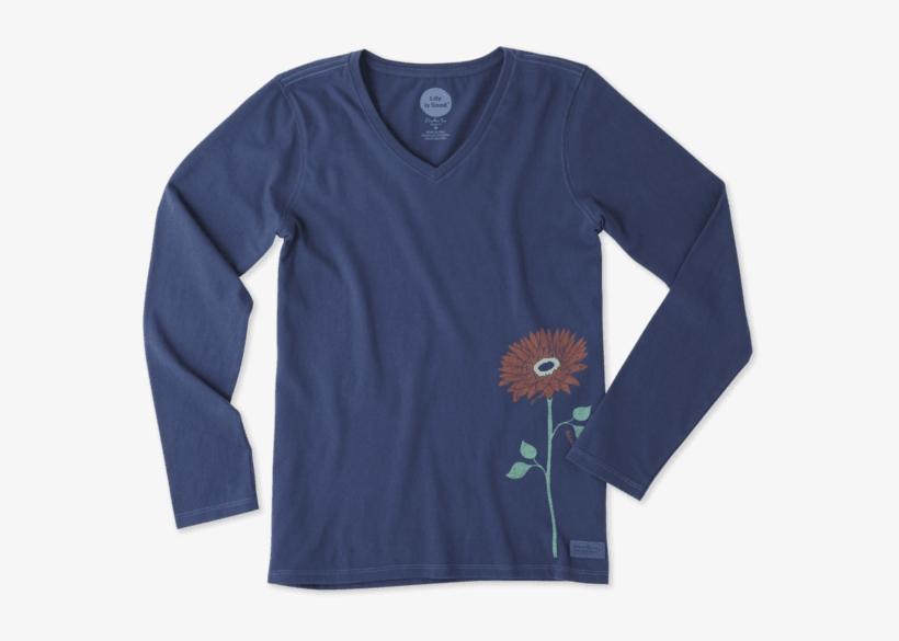 Women's Namaste Flower Long Sleeve Crusher Vee - Long-sleeved T-shirt, transparent png #8574564