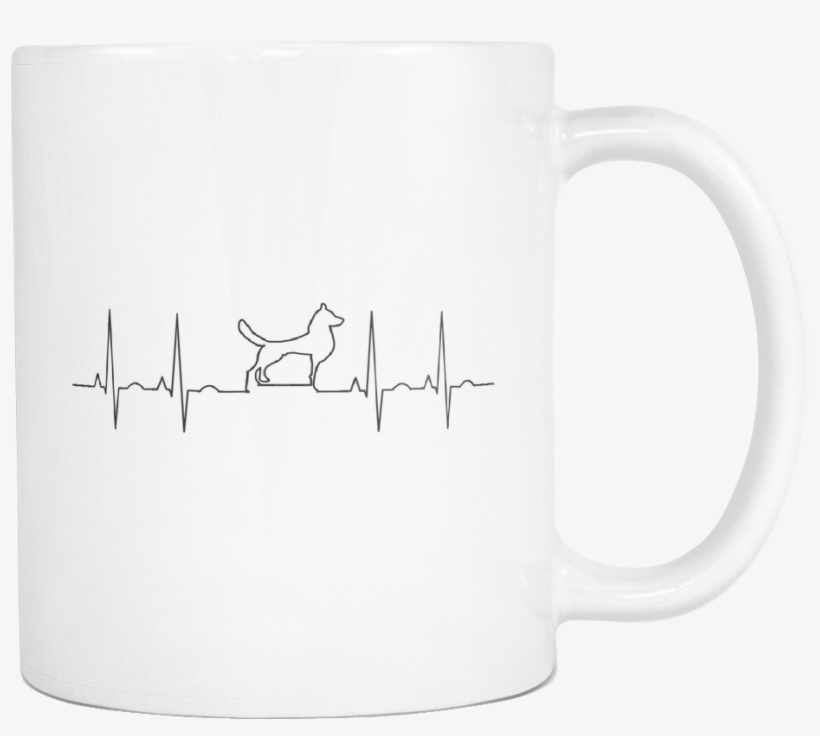 Heart Beat Graph Dog Print White 11oz Mug - Coffee Cup, transparent png #8596919