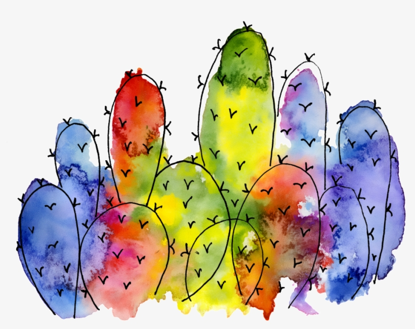 Colorful Cactus Watercolor Hand Painted Transparent - Watercolour