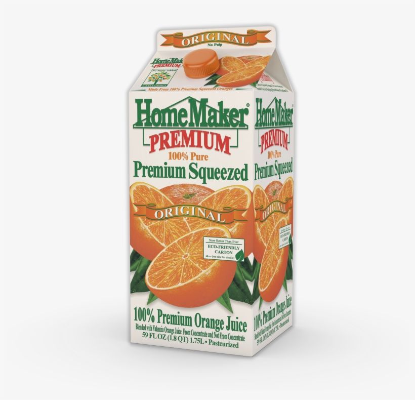 Homemaker, Premium Squeezed Original Orange Juice, - Homemaker Orange Juice, 100% Florida, Original - 59, transparent png #860542