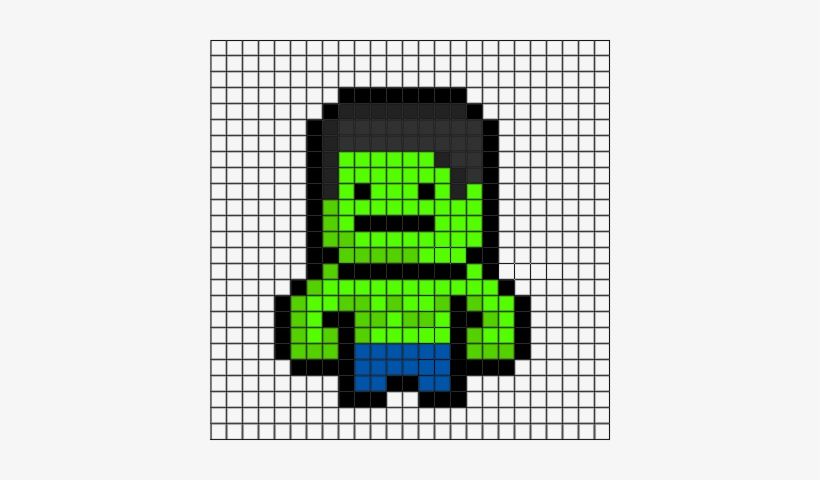 Incredible Hulk Grid - Minecraft Superhero Pixel Art, transparent png #861285