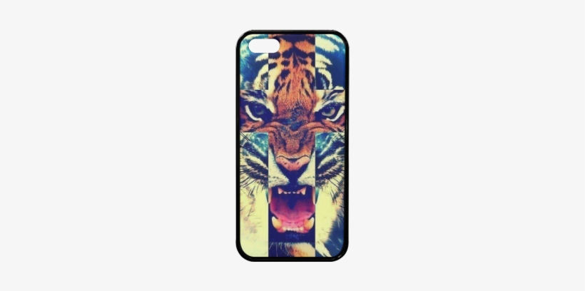 Tiger Head Cross Pattern Rubber Case For Iphone 5/5s - Marcelo Burlon Wallpaper Hd, transparent png #863991