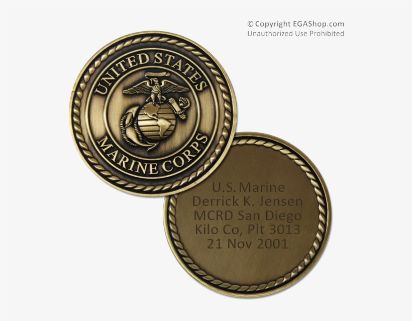 Custom Engraved Coin With Marine Corps Crest - United States Marine Corps, transparent png #865215