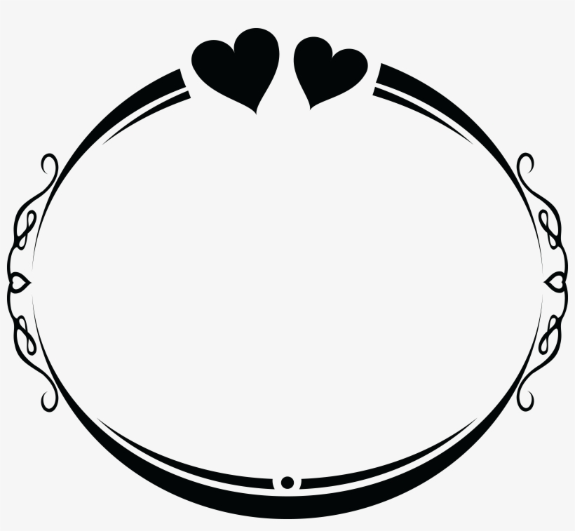Wedding Clipart Black And White.Free Clipart Of An Oval Wedding Frame Design With Love Wedding