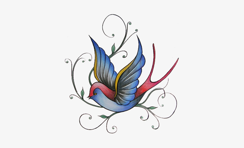 Colored Sparrow Tattoo Design - Colorful Sparrow Tattoo Designs, transparent png #869638