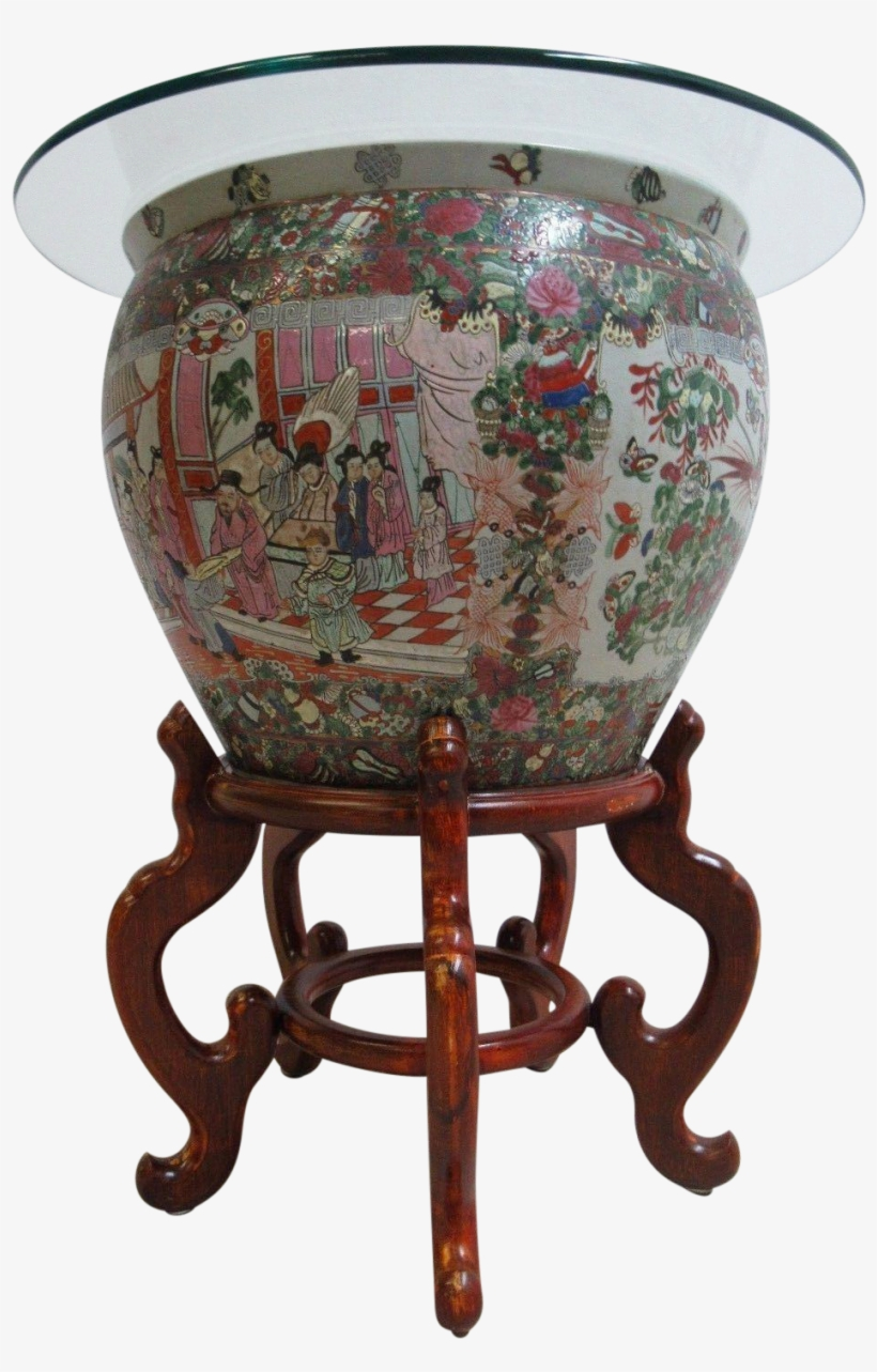 Vintage Asian Pottery Fish Bowl Stand Lamp End Table, transparent png #8608529