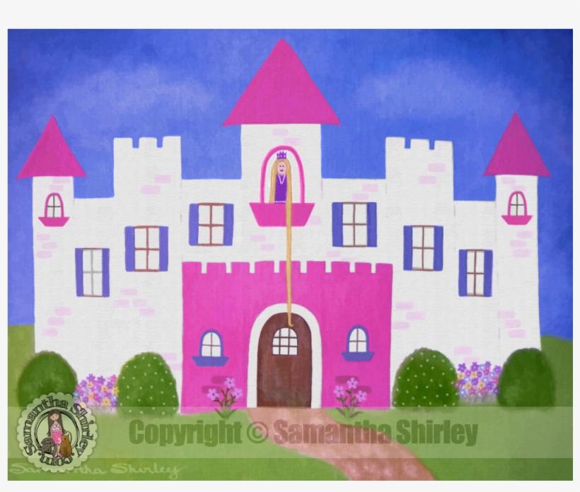 Kids Art Print Of Princess Castle Painting - Castle Painting For Kids, transparent png #8615180