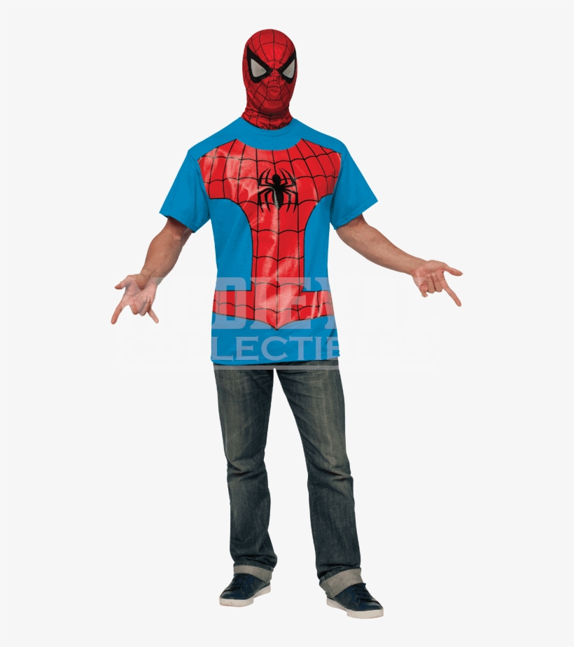 Adult Spider Man Costume Top And Mask - Spiderman Costume For Adult Male, transparent png #8641621
