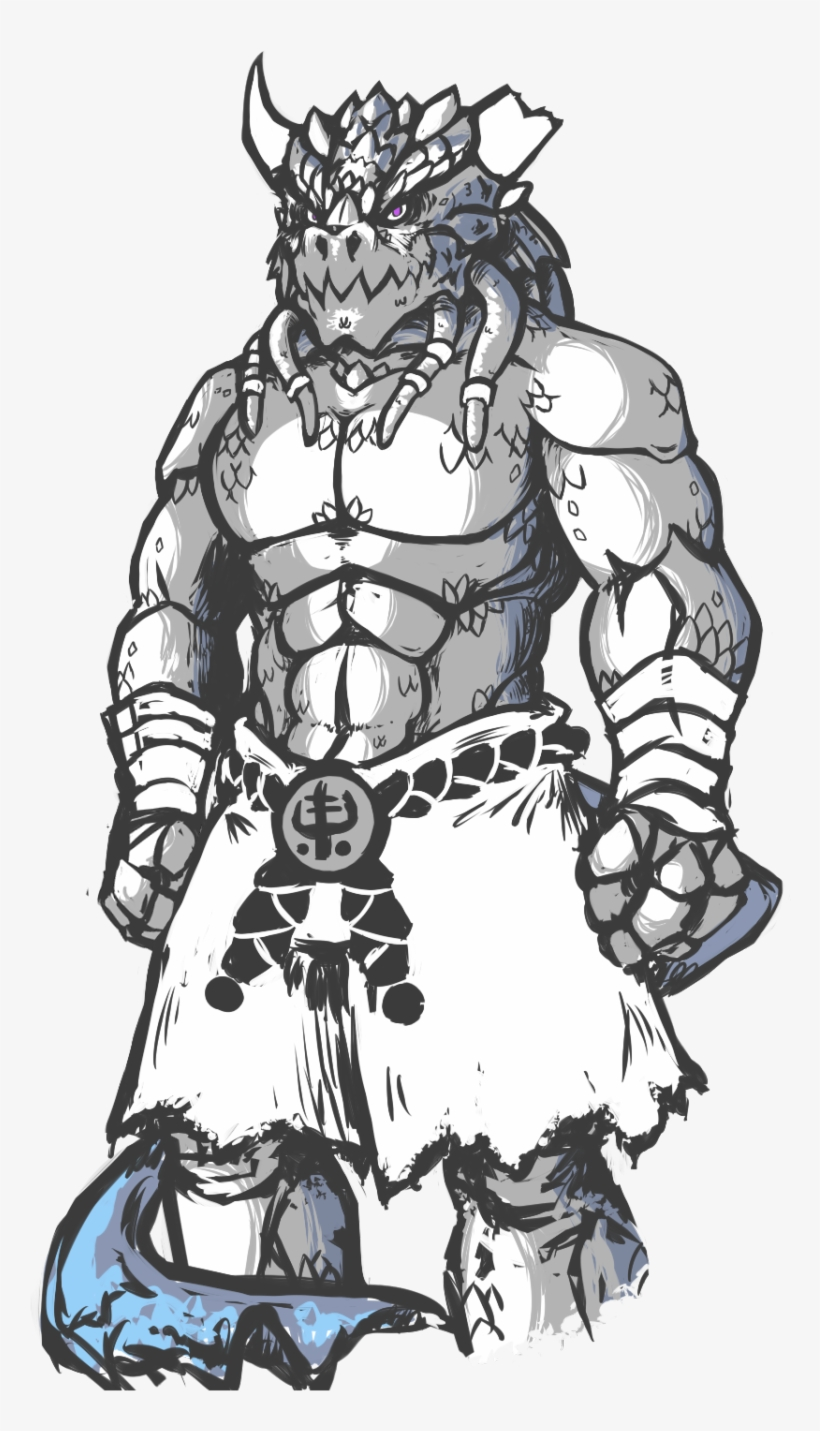 Sketch Art Of My D&d Character I Worked Out, Dosken - Dungeons And Dragons Dragonborn Monk, transparent png #8685150