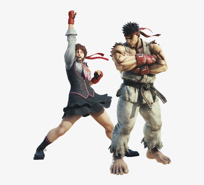 Ryu And Sakura Descend Upon The World Of Monster Hunter - Sfv Sakura Street Fighter, transparent png #876300