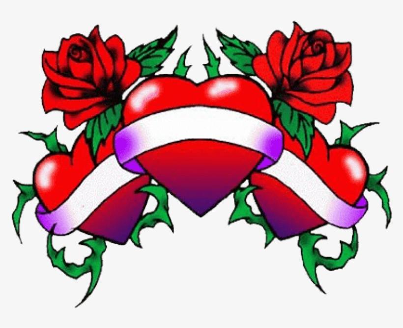 Three Hearts Tattoo Png - Tattoo Love Heart Designs, transparent png #878463