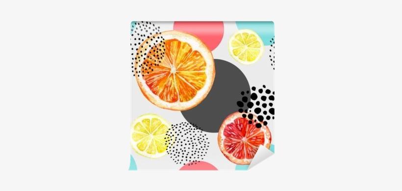 Watercolor Fresh Orange, Grapefruit And Colorful Circles - Abstract Grapefruit Watercolur, transparent png #878750