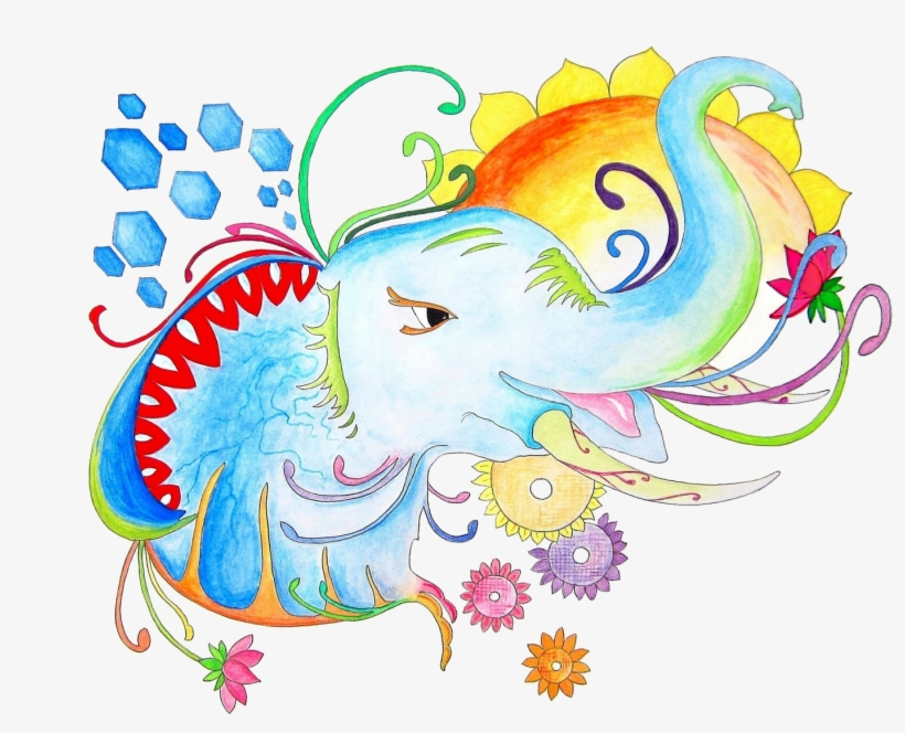 Banner Free Elephant Illustration Set Wall Of Wonders - Peacock Drawing Pencil Easy, transparent png #8702223