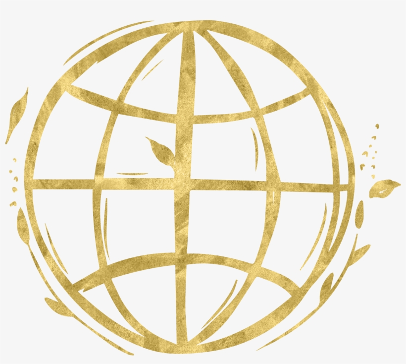 Hand Drawn Social Media Gold - World Icon Transparent Background, transparent png #8714665